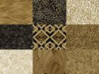 ROMANCE Oasis Fabrics by the Yard Quality Quilting Cottons for Masks Black Gold