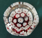 Art Glass Millifiori PaperWeight Gold Flecks White Red Vintage Faceted Design