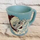Vintage Fire King Blue Turquoise D Handle Coffee Mug Hand Painted Santa L30