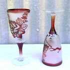 2 Vtg RUBY Red CAMEO Satin Glass Cut to Clear CHAMPAGNE Goblet Blown Crystal