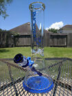 Glass Beaker Water Pipe Phoenix 12 Inches Tall  9mm Extra Thick Blue