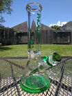 Glass Beaker Water Pipe Phoenix 12 Inches Tall  9mm Extra Thick Green