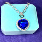 Classic style 3030mm Blue synthetic crystal Heart of the Sea Pendant Necklace