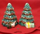 Waterford Ceramic Christmas Tree Salt  Pepper Shakers Table Decor Decoration