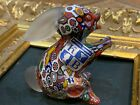 VINTAGE KB MURANO ART GLASS PAPERWEIGHT MILLEFIORE BUNNY RABBIT FIGURINE LABELS