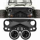 Front Bumper Grille Guard Mesh + 2X 7 LED Headlight For Jeep Wrangler JK 07 18
