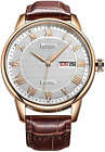 SONGDU Men's Casual Quartz Watch Wristwatch with Brown Leather Strap and Stainle