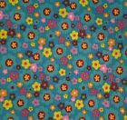 f2 1 yd x 44 Fabric Blue Groovy Flower Power Colorful Seersucker Red Yellow