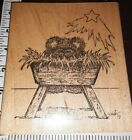 Fuzzy bearnativity manger huge Lynne 99926rubberstamp wooden