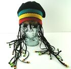 Disney World Mickey Mouse Ears Jamaican Rasta Braids Beads Beanie Hat Cornrows