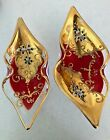 Vintage Murano Glass Venetian gilded and enameled paper label unmatched pair