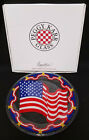 Peggy Karr SIGNED Glass AMERICAN FLAG PLATE 112 dated 2001 w BOX 4TH of July