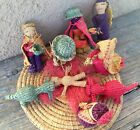 VINTAGE ETHNIC STRAW HANDCRAFTED NATIVITY SET FINGER PUPPETS S AMERICA ECUADOR