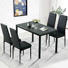 Black 5PC Kitchen Dining Table Set Glass Metal Dinette 4 Leather Chair Breakfast