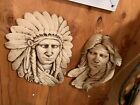 Wall Hanging Native American Man Woman Face Plaque Art