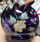 Fenton Art Glass Hand Painted Vision Of Roses On Aubergine Rose Bowl New