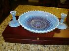Opalescent Blue Glass Hobnail 115 centerpiece bowl  2 Candle holders Fenton