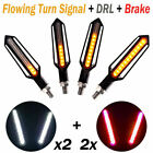 4x Flowing LED Amber Turn Signal Light Blinker Red Brake White DRL Indicators #D