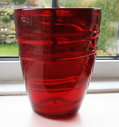 Whitefriars Large Ribbon Trailed Ruby Red Art Glass Vase Barnaby Powell