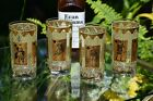 Vintage 22KT Gold Playing Cards Cocktail Liquor Highball Glasses, Set of 4