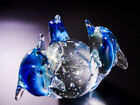 Rare Unique Three Blue Dolphins Clear Glass Globe Ball With Bubbles Paperweight