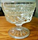 Set of 12 Vintage diamond cut Clear Glass Footed Ice Cream Sherbet Dessert cup