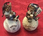 2000 Boyds Bear Masters Christmas Tree Ornament Lot Of 2 Golf Baseball