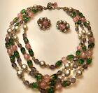 MIRIAM HASKELL PINK GREEN PURPLE GLASS BEAD  FAUX PEARL NECKLACE  EARRINGS SET