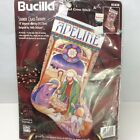 Vintage Bucilla Cross Stitch Kit Stained Glass Nativity Stocking New 83438