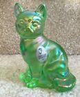 Fenton Glass Green Lime Carnival Style Cat Figurine FREE SHIPPING