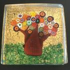 Murano Glass Tree Block Square Made in Italy Gold Leaf Cane Millefiori Venezia