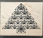 Rubber Stamp Holiday Tree Christmas Wood Outlines Rubber Stamp
