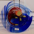 Jan Mitchell Fused Art Glass Plate Cobalt Blue Swirls with Cat Signed