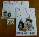 One NEW Childs Birthday Card w Matching Envelope Dog  Cat Wearing Party Hats