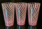 Vintage Lot of (3) EASTERN Red and White Stripe/Swirl Tumblers Drinking Glasses