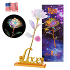 24K Gold Foil Rose Flower LED Galaxy Mothers Day Valentines Day Gift US