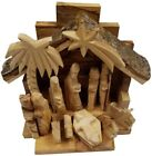 6 Olive Wood Kids Christmas Nativity Full Set Stable with Carved Figurines