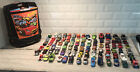 Hot Wheels Matchbox Wheeled Rolling Carrying Case w Lot Of 88 Cars Vintage