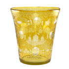 Antique Large Cut To Clear Amber Yellow Crystal Glass Vase