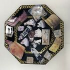 Vintage Decoupage Hand Made Glass DOGS Octagonal Plate 725 Black Gold Multi