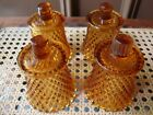 Antique Vtg Diamond Point Amber Glass Candle Sconce Set of 4