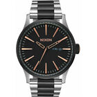 Nixon Sentry SS Black and Silver Rose Gold Wristwatch