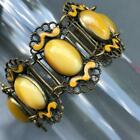Vintage Art Deco Czech Glass open work Brass Panel Bracelet