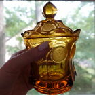 MINT Fostoria Coin Gold Amber Glass Covered Candy Dish Sugar Bowl w Lid