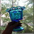 MINT Vintage Blue Laced Edge Pedestal Candy Dish Aqua Indiana Glass Compote