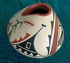 Native American Pottery Unique Handpainted Jemez Pot signed by the artisan