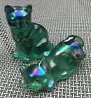Two Fenton Iridescent Carnival Glass Hand Painted  Signed Cats Blue Green