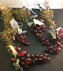 VINTAGE Green  Red Cluster Grape  Leaves Vine on Wire 1950s GLASS FRUIT