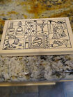Outlines Rubber Stamp Makeup Beauty Products Collage Wood Rubber Stamp