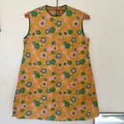 Vintage Paper Dress Quintessential 1960s Yellow Pink Green Flower Power Mini